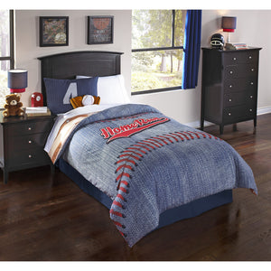 Denim Blue Boys Baseball Bedding Twin Full/Queen Sports Reversible Comforter Set, Pillows, Bed Skirt