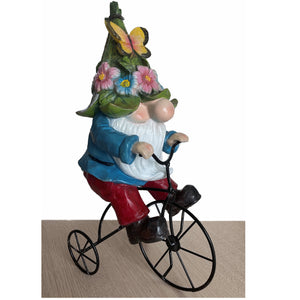 "Large 13"" Spring Gnome Figurine Statue with Bike Flowers Butterfly Home or Garden Statuary Decor"