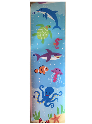 Ocean Fish Kids Height Growth Chart - Sea Whale Dolphin Shark Octopus