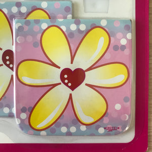 "Birthday Princess Pink Butterfly & Flowers Mini Memo Note Pads 4 CT - 3"" x 3"""