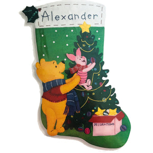 "Disney Winnie The Pooh & Piglet Decorating Christmas Tree 18"" Felt Stocking Kit with Sequins, Beads, Embroidery Vintage Rare Personalized"