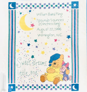 "Winnie The Pooh Sweet Dreams Counted Cross Stitch Keepsake Baby Birth Announcement Record Kit Sampler 11"" x 14"""