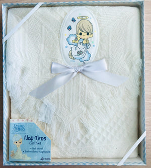 Precious Moments Baby Angel White Shawl Throw Blanket with Applique Baby Shower Gift Box