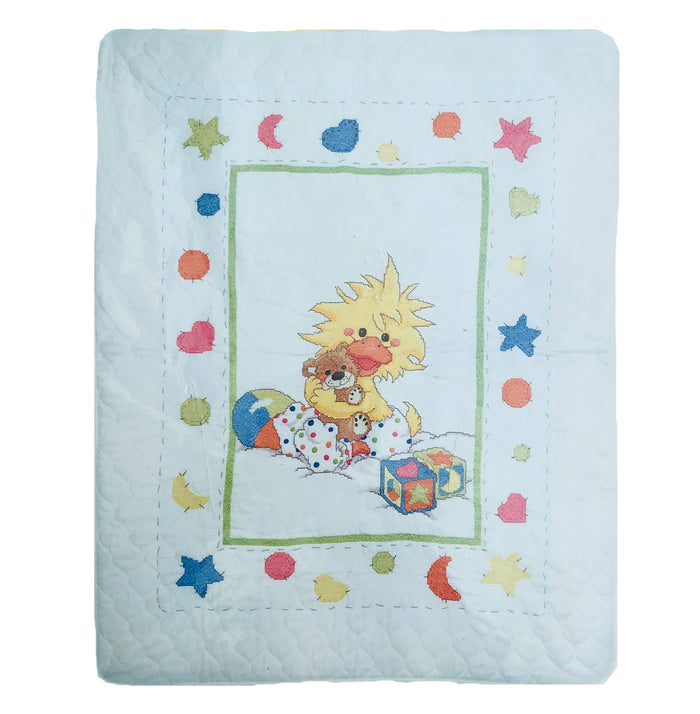 "Little Suzy's Zoo Counted Cross Stitch Witzy Stamped Keepsake Baby Nursery Crib Quilt Kit 34"" x 43"""