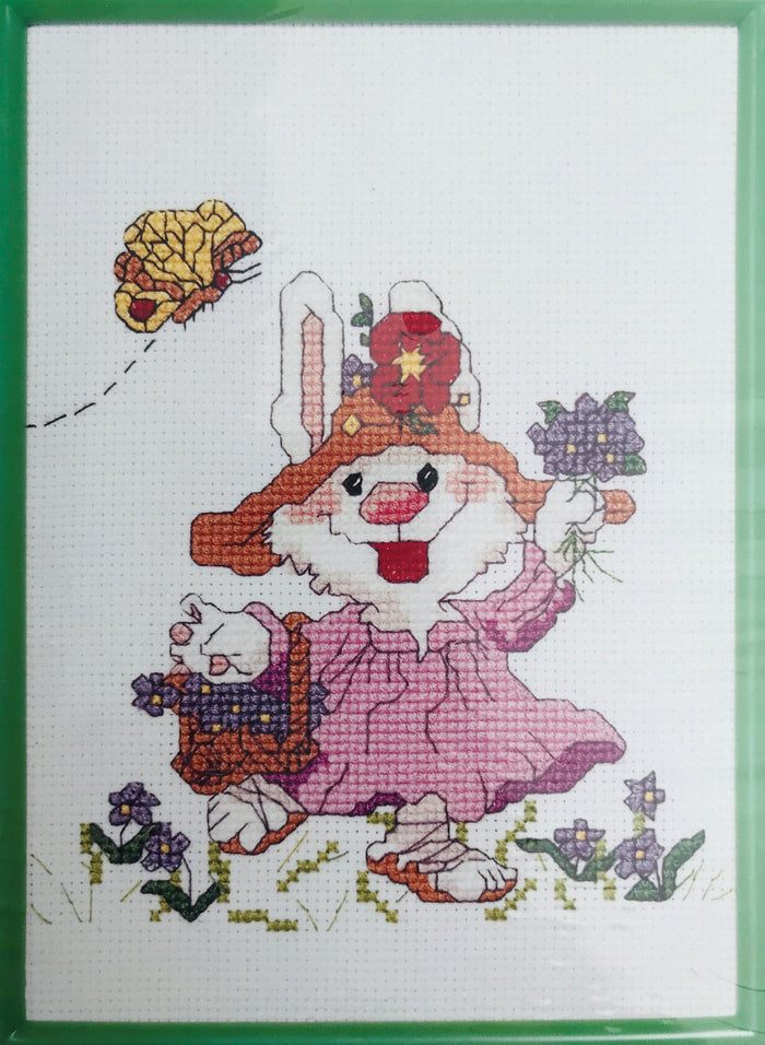 uzy's Zoo Vintage Counted Cross Stitch Kit with Frame Friends & Flowers Bunny