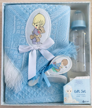 Precious Moments Baby Boy with Bear Blue Shawl Blanket Throw, Bottle, Comb & Brush Baby Shower Gift Box
