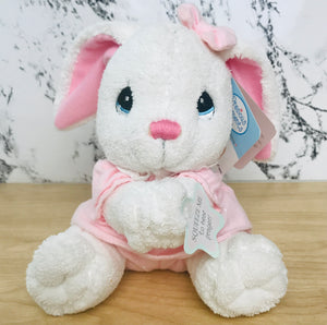 "Vintage Precious Moments 9"" Baby Bunny Rabbit Girl Plush Prayer Pal Doll Soft Rag Bedtime Praying Toy"