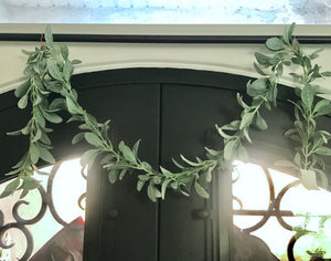 Lambs Ear Garland 6ft Faux Greenery Decor / Wedding / Valentine / Spring Bush