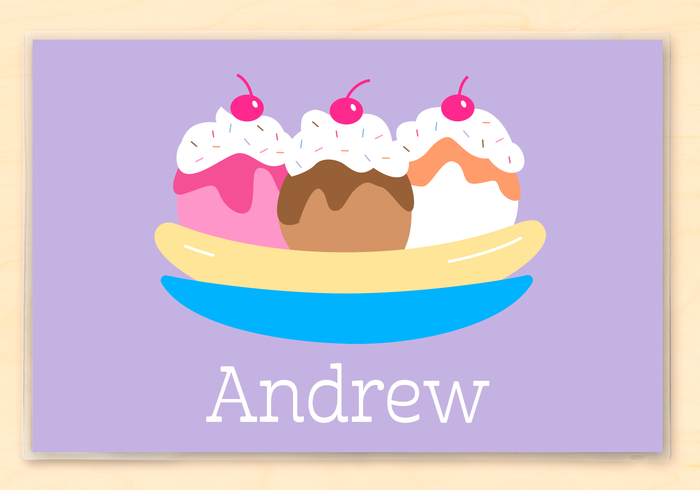"Ice Cream Personalized Lavender Placemat 18"" x 12"" with Alphabet"