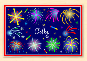 "Fourth of July Fireworks Personalized Placemat 18"" x 12"" with Alphabet"