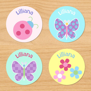 Butterfly Garden Personalized Round Waterproof Labels 24 CT