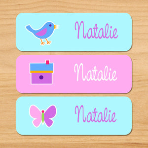 Spring Birds Owls Nests Personalized 33 CT Rectangle Waterproof Labels
