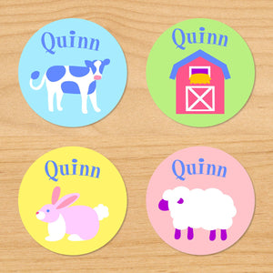 Baby Farm Animals Personalized Round Waterproof Labels 24 CT