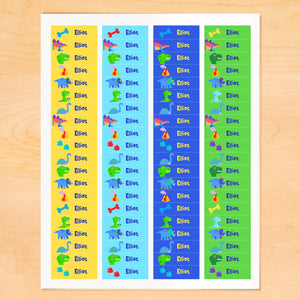 Dinosaur Land Personalized 80 CT Waterproof Mini Labels