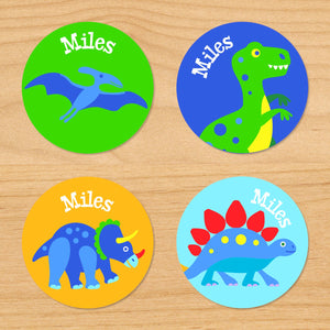 Dinosaur Land Personalized Round Waterproof Labels 24 CT