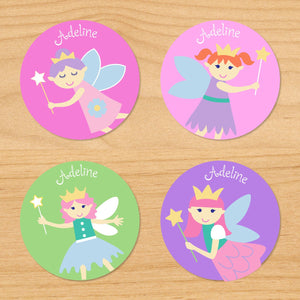Fairy Princess Pink Personalized Round Waterproof Labels 24 CT