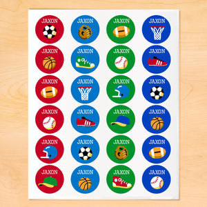 Game On Sports Personalized Round Waterproof Labels 24 CT