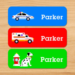 Rescue Heroes Fire Trucks Police Personalized 33 CT Rectangle Waterproof Labels