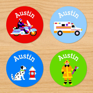 Rescue Heroes Personalized Round Waterproof Labels 24 CT