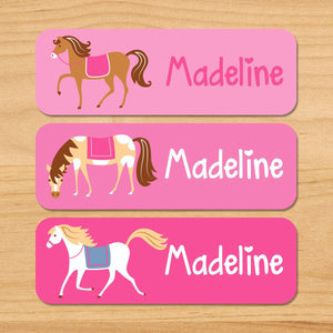 Horses Pink Personalized 33 CT Rectangle Waterproof Labels