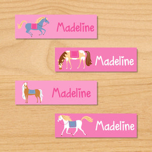 Horses Pink Personalized 80 CT Waterproof Mini Labels