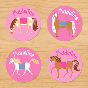 Horses Pink Personalized Round Waterproof Labels 24 CT