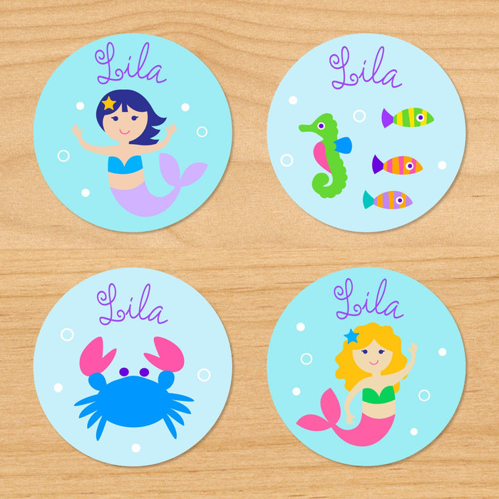 Mermaids & Fish Personalized Round Waterproof Labels 24 CT