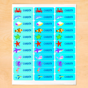 Ocean Fish Whale Shark Personalized 33 CT Rectangle Waterproof Labels