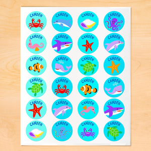 Ocean Fish Dolphin Whale Personalized Round Waterproof Labels 24 CT