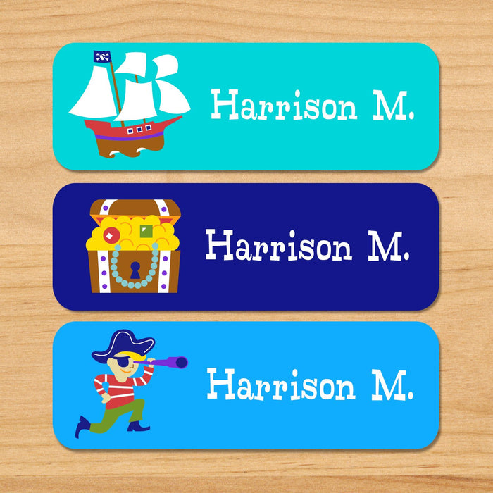 Pirates Personalized 33 CT Rectangle Waterproof Labels