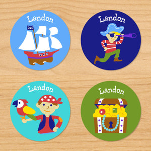 Pirates Personalized Round Waterproof Labels 24 CT