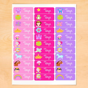 Princess & Castle Personalized 33 CT Rectangle Waterproof Labels