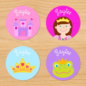 Princess Castle Personalized Round Waterproof Labels 24 CT
