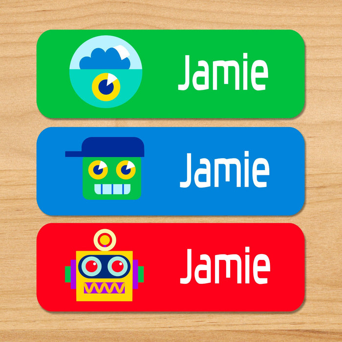 Robots Personalized 33 CT Rectangle Waterproof Labels