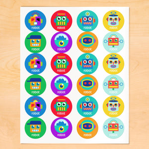 Robots Personalized Round Waterproof Labels 24 CT