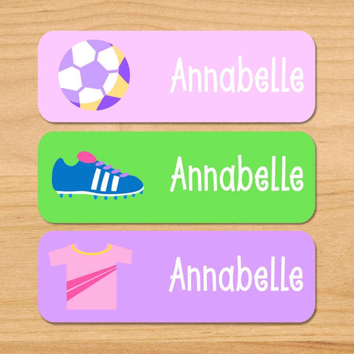 Soccer Girl Personalized 33 CT Rectangle Waterproof Labels