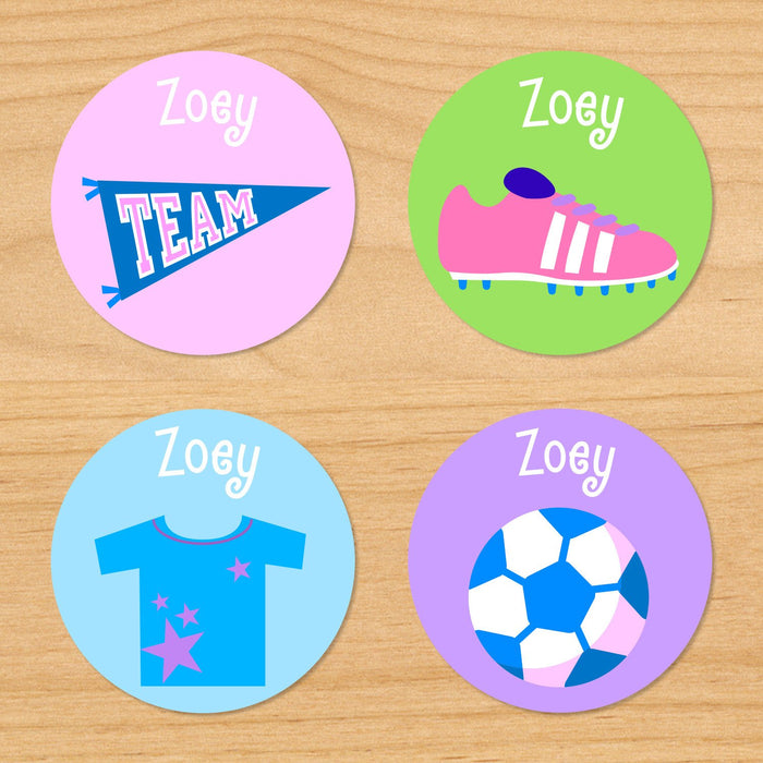 Soccer Girl Personalized Round Waterproof Labels 24 CT