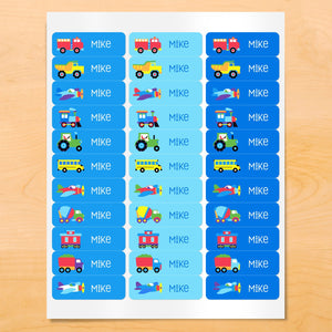Trains Planes Trucks Personalized 33 CT Rectangle Waterproof Labels