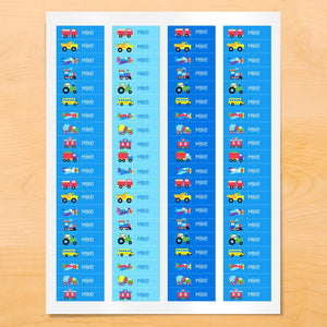 Trains Planes Trucks Personalized 80 CT Waterproof Mini Labels