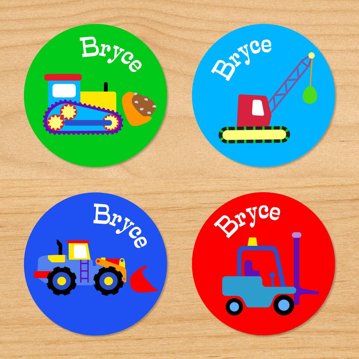 Construction Personalized Round Waterproof Labels 24 CT
