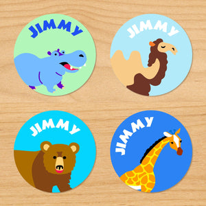 Wild Animals Personalized Round Waterproof Labels 24 CT