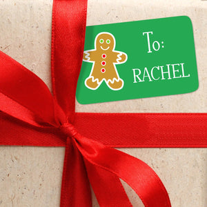 Green Personalized Classic Christmas Gift Tags From or To