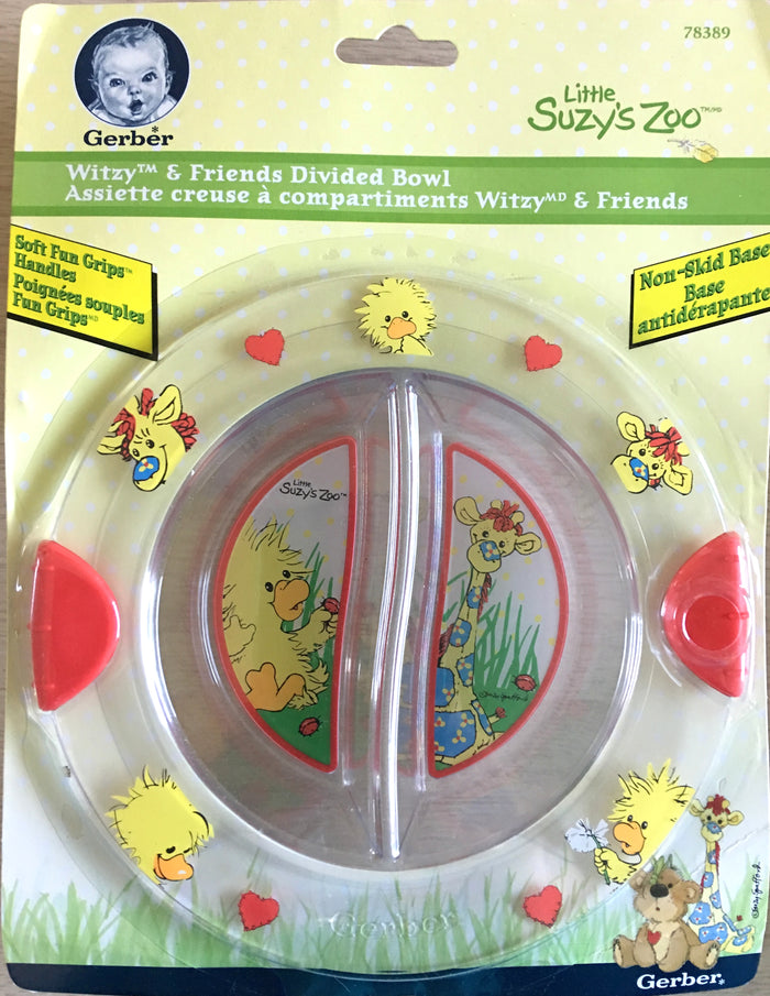 "Little Suzy's Zoo Baby/Toddler Divided Bowl Food Dish 7"" Witzy Duck, Patches Giraffe, Hearts & Ladybugs"
