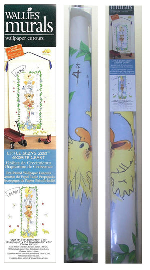 Little Suzy's Zoo Nursery Growth Chart Baby Duck Bunny Bear Giraffe Pre-Pasted