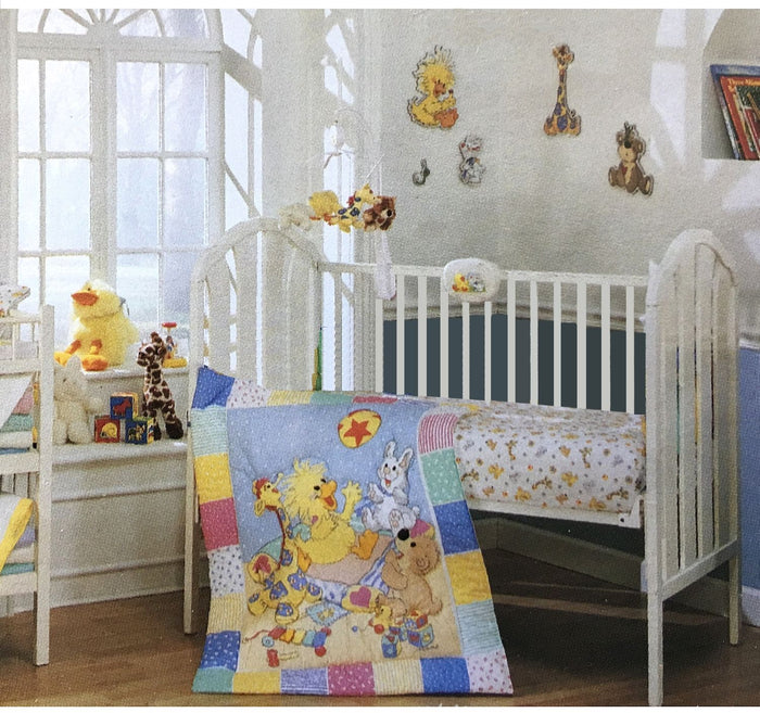 Little Suzy's Zoo Witzy's Playtime Baby Animals 3pc Nursery Collection - Crib Bedding Set & Wall Art - Duck Bear Giraffe Bunny