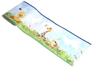 Little Suzy's Zoo Wall Border Baby Animals Duck Bear Bunny Giraffe - Nursery or Playroom, Pre-Pasted