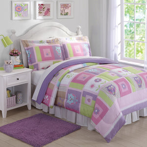 Pink Purple Owl Comforter Set
