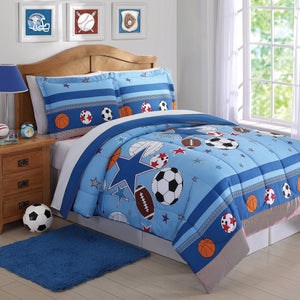 Blue Sports Star Boy Bedding Twin Full/Queen Comforter Set