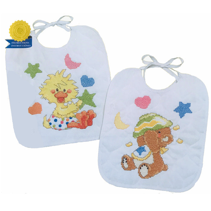 Little Suzy's Zoo Stamped Cross Stitch Kit Keepsake Baby Bibs Witzy Yellow Duck & Boof Brown Bear 2-Pack