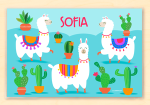 "Llamas Personalized Placemat 18"" x 12"" with Alphabet"